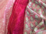 in a pink nylon saree